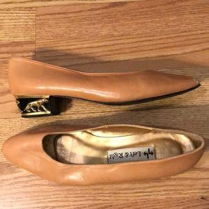 Vintage Gold Lion Heeled Pink Block Heels
